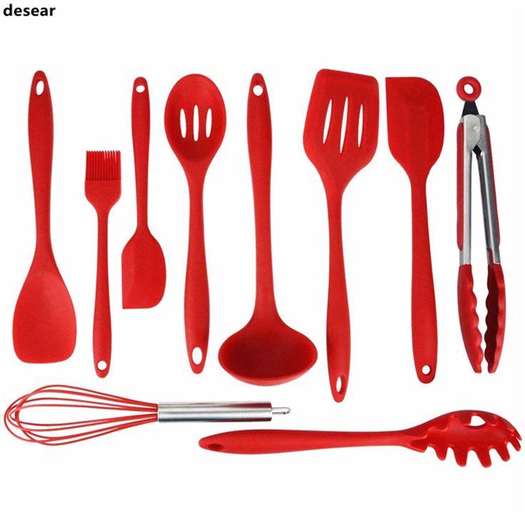 Desear Silicone Kitchen Utensils 10 Piece Cooking Utensil Set Spatula,  Spoon, Ladle, Spaghetti