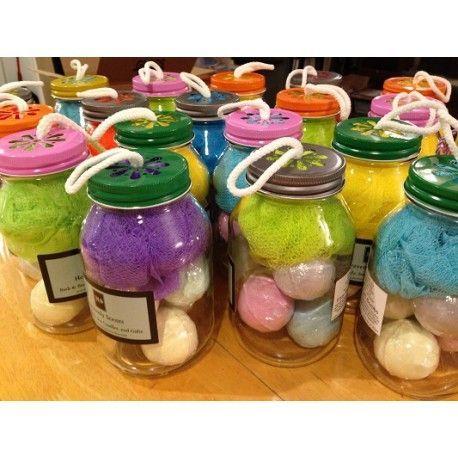 5 Fizzy Bath Bombs In Mason Jar   Great Gifts