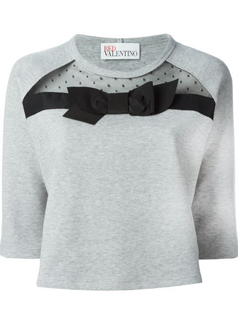 RED VALENTINO Bow Appliqué Sweatshirt. #redvalentino #cloth #sweatshirt