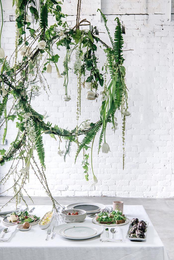 DIY Hanging Floral Installations from Ann Sage's Spring Brunch
