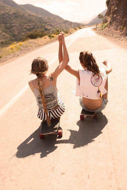 best friends: The Roads, Best Friends, Bestfriends, Dreams Catcher, Bff, Friendship, Friends Pics, Longboards, Skateboard