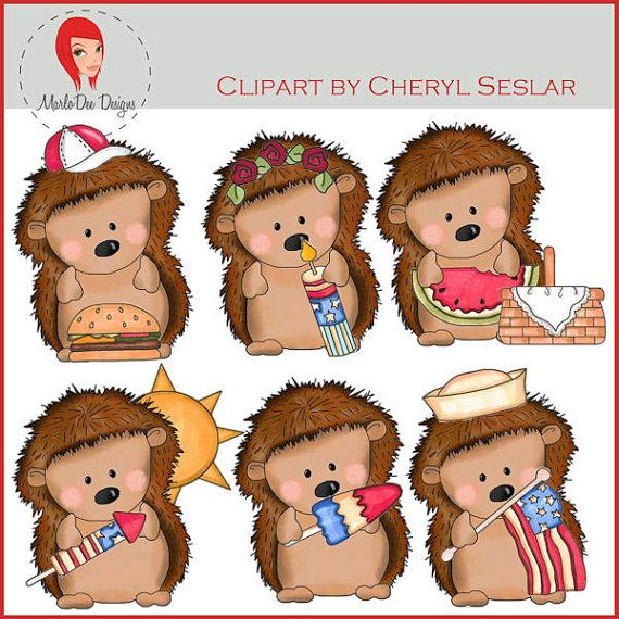 NEW Pepper the Hedgehog Fourth of July Clipart by by marlodeedesigns, $1.25