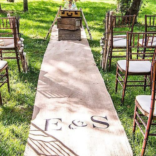 Personalized Burlap Aisle Runner with Monogram by Beau-coup