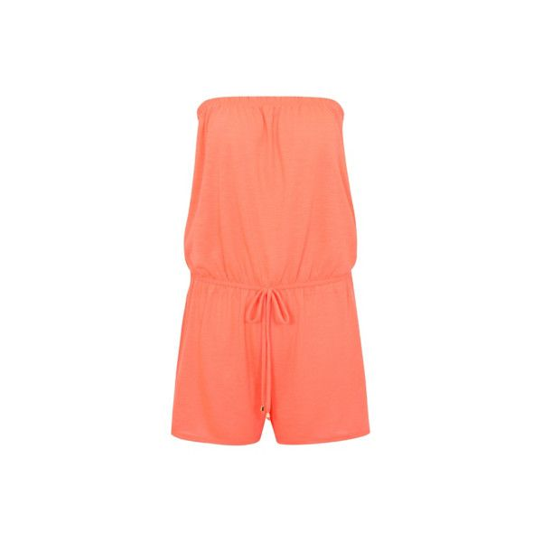 George Strapless Playsuit Cover-Up ($10) ❤ liked on Polyvore featuring swimwear, cover-ups, coral, bathing suit cover up, bathing suit cover ups, swimsuit cover up, bikini cover up and bathing suits bikini