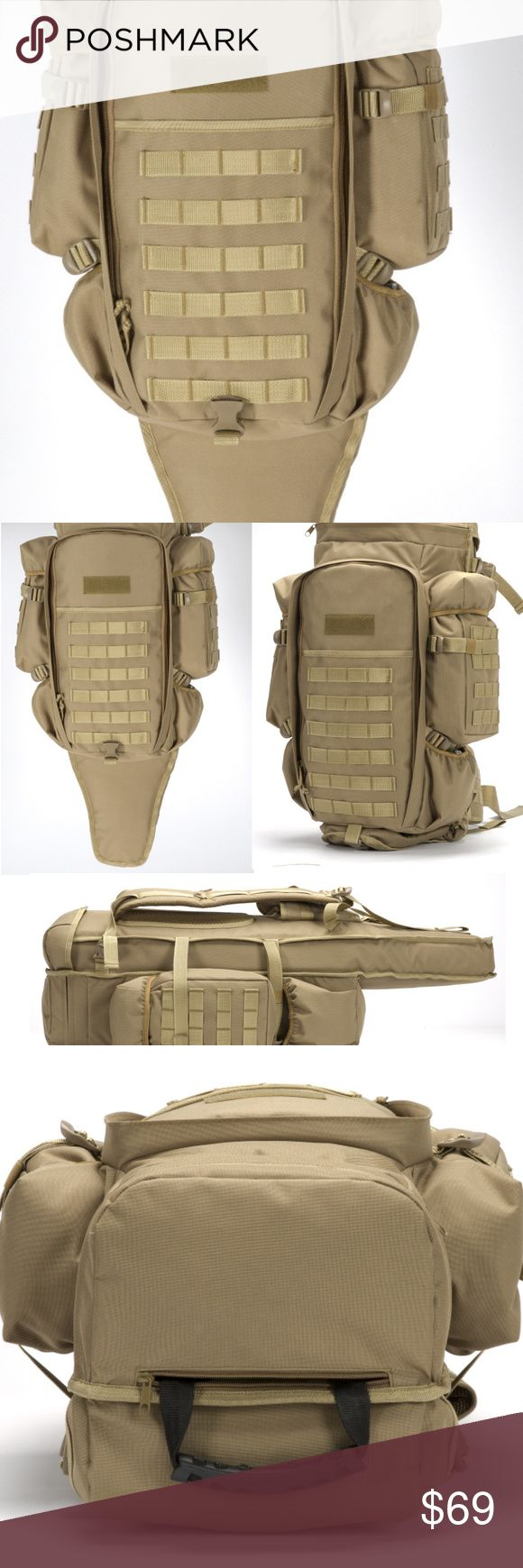 """Tan ACU Digital Tactical Padded Rifle Backpack Tactical Molle Dual Rifle Gun Carrying Case Bag Backpack  Extremely high quality water resistant 600 Denier fabric with heavy duty hardware and zippers Able to hold 2 rifles Molle webbing backpack Rifle pouch extends to 46"""" in length Adjustable top extension pad which is also removable Pouches & bottle pockets on both sides Durable hand/carry strap Comfortable shoulder straps fitted with D ring, waist  and sternum belts Padded back for comfort…"""