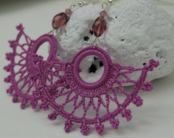 Uncinetto orecchini - Grandi orecchini all'uncinetto - Crochet monili dell'orecchino - Viola - Fan gioielli stile-Crochet - Gioielli Tessile