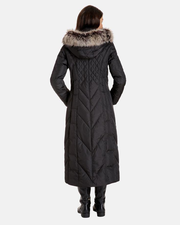 Nancy Long Down Coat with Detachable Faux Fur Trimmed Hood
