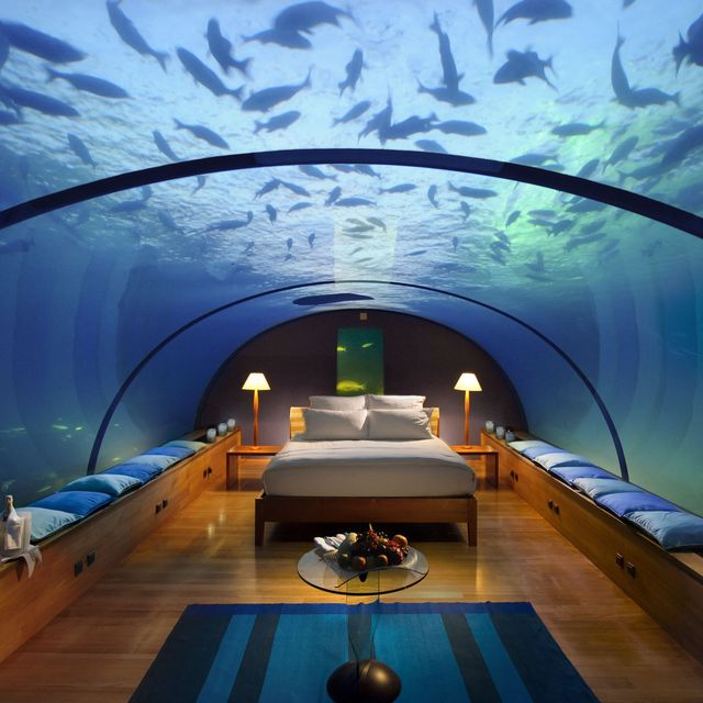 Underwater Bedroom, Conrad Maldives Rangali Island Hotel. The bedroom lies 16-feet below the water and is enclosed by a clear glass window. It's a semi-circle so you have a stunning 180-degree view of the local marine life and nearby coral reef.
