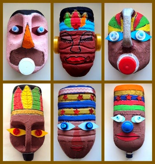 mask, recycling.  Kids could make these masks to go with our Ancient Civilizations unit.