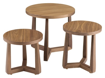 This set of three walnut side tables partly tuck away under one another to free up space in your home. The can then be separated out when you or your guests need a spot to leave their drinks.  The traditionally inspired triple loop leg is a stunning feature when finished in walnut veneer.