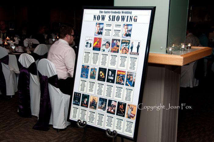 a vintage movie theme table   ... to a classic movie. They found their table by locating the movie