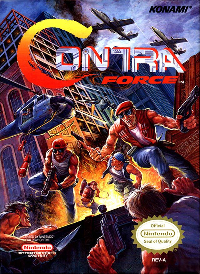 """The box cover for """"Contra Force,"""" a sequel to the original platform shooter released by Konami for the Nintendo Entertainment System in 1992"""