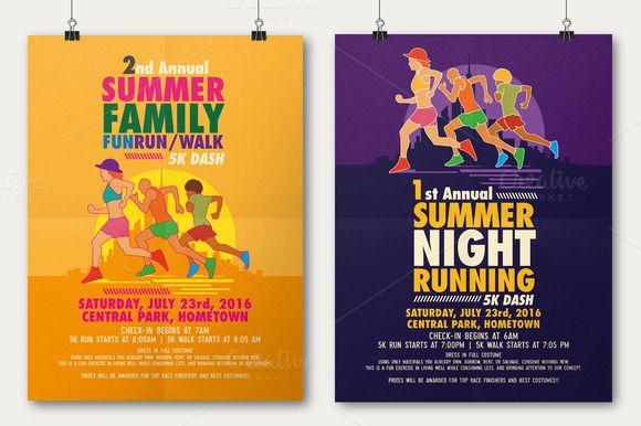 Summer Fun Run Flyer & Poster by Rooms Design Shop on @creativemarket