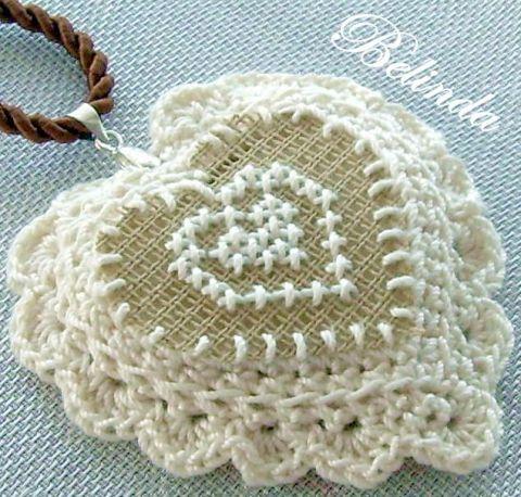 Sisters - embroidered, crochet pendant, Belinda, meska.hu