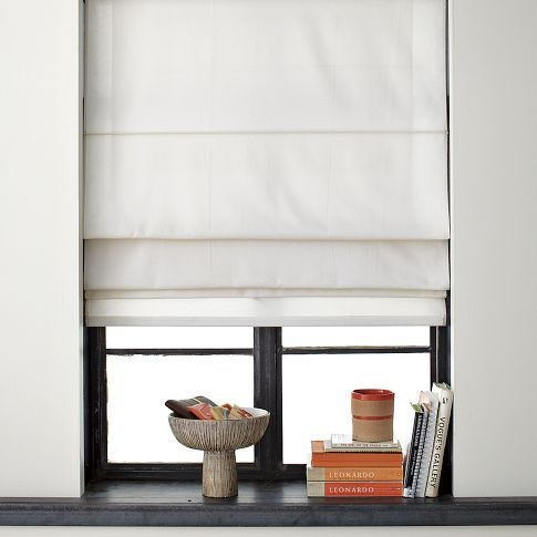 Solid Roman Shade | west elm  Simple roman shades in the sleeping areas to prevent clutter in small spaces and reveal paneling