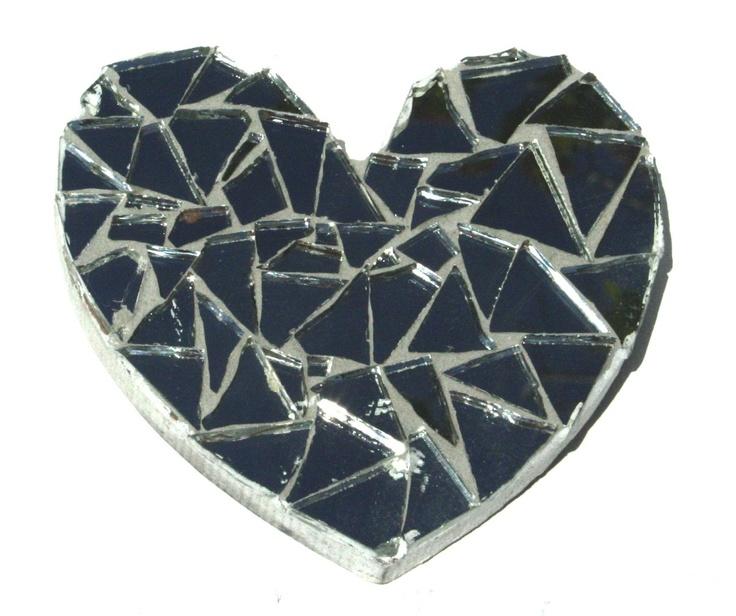 Heart-shaped mosaic mirror artwork