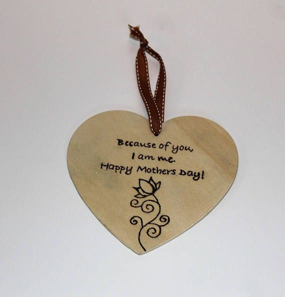 Pyrographed Mothers Day Wooden Heart Plaque Personalized