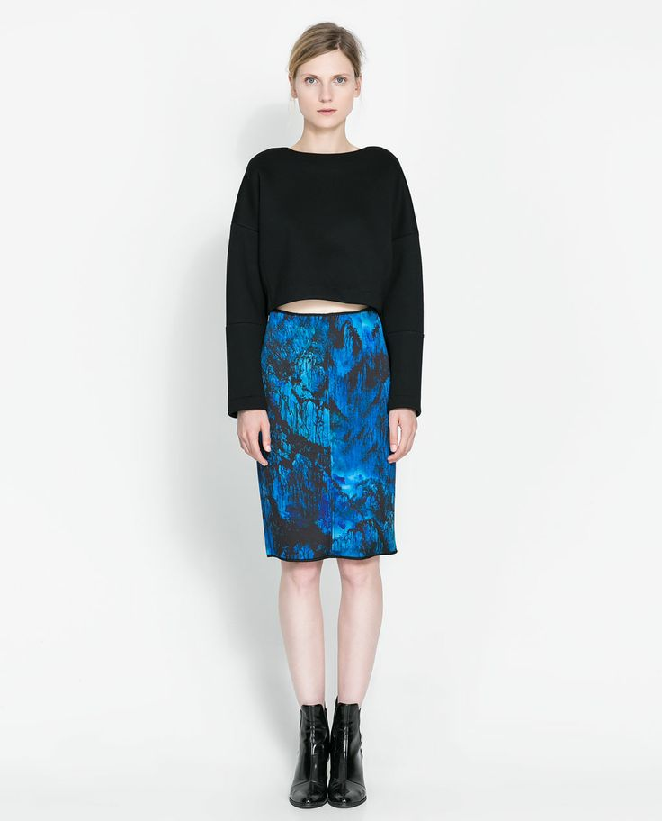 Image 1 of PRINTED PENCIL SKIRT from Zara