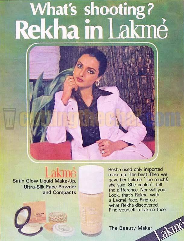 Rekha in a vintage Lakmé Cosmetics ad