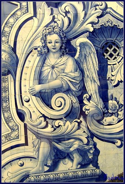 Beautiful angel painted on azulejo tiles. Santuário de N. Sra. dos Remédios, Lamego, Portugal