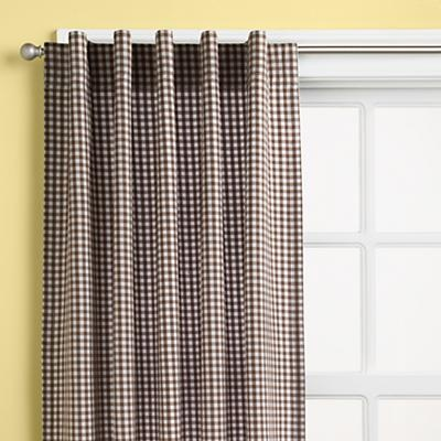 Kids Curtains: Kids Brown Gingham Curtain Panels