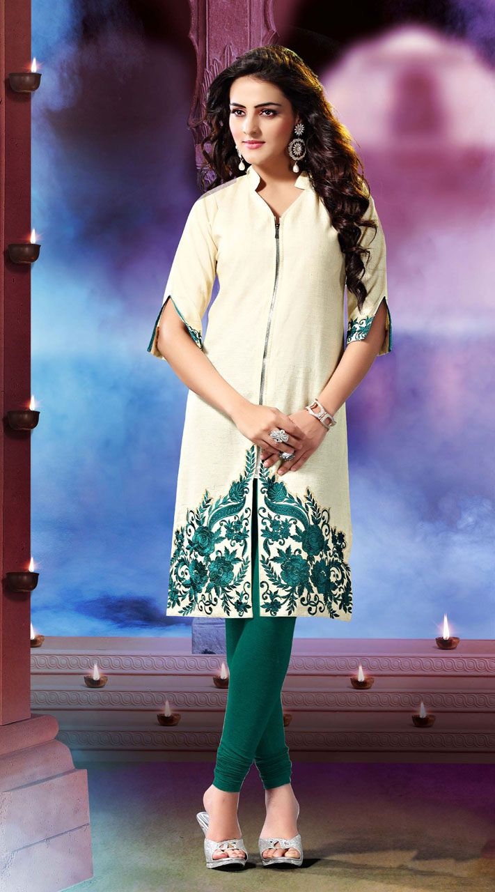 Stunning off white khadi cotton kurti which is ornamented with resham and embroidery work. This readymade Kurti comes in bust size 40 and 44 inches.Legging can be purchased additionally. They are not a part of this kurti.