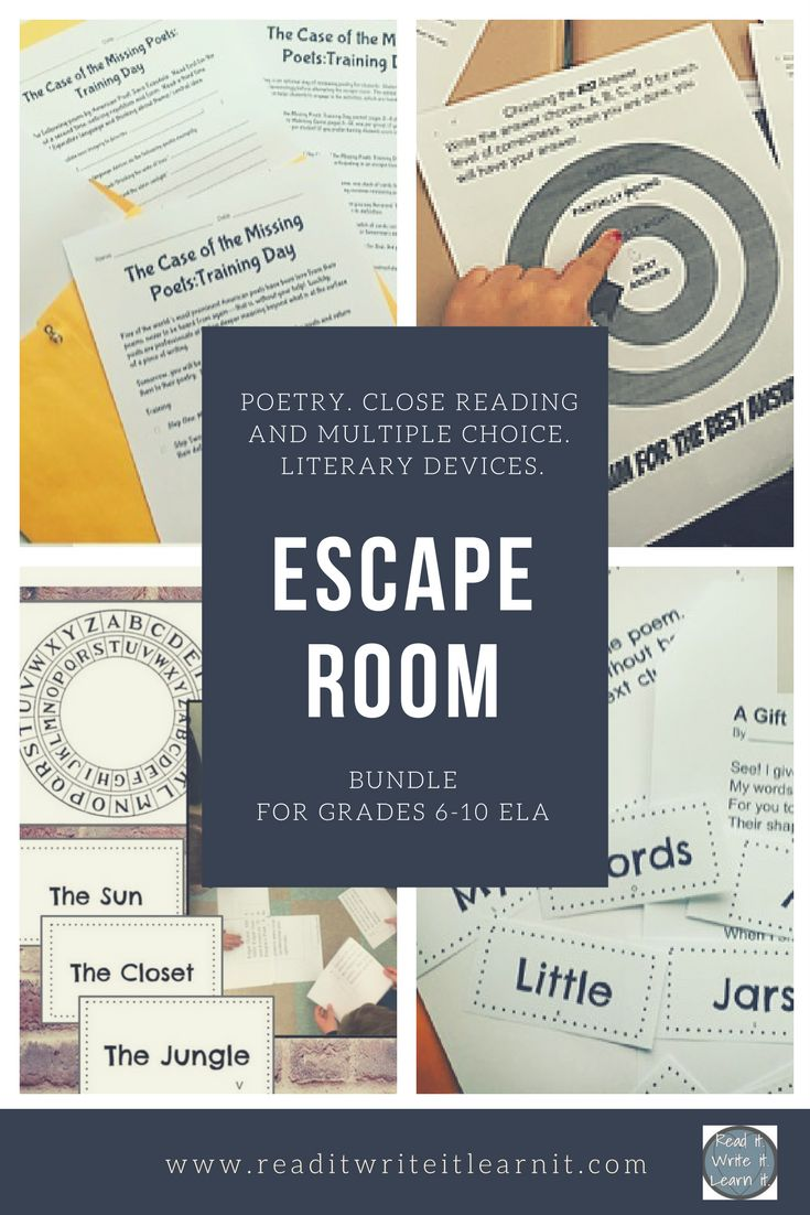 The best of the best ELA escape room bundle for grades 6-10 ELA includes a close reading and multiple choice escape room, a poetry escape room, and a literary devices escape room. Get kids on their feet and actively learning poetic elements, literary devi