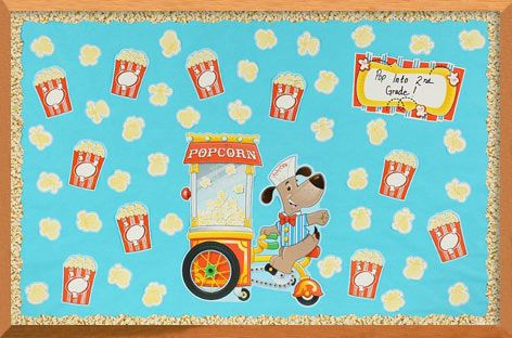 Popcorn Bulletin Board. #ClassroomDecorations #BulletinBoard