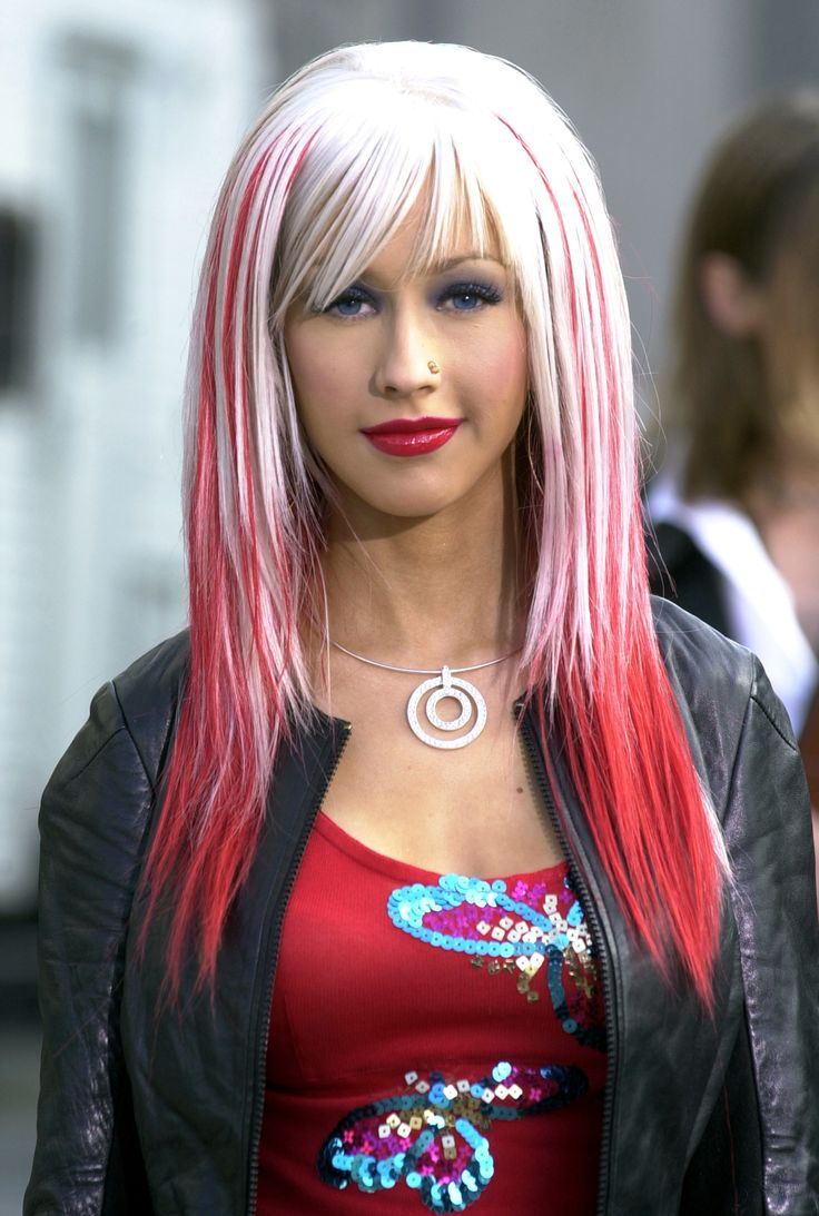 Red Hair Christina Aguilera Looks Hair Wigs Pink