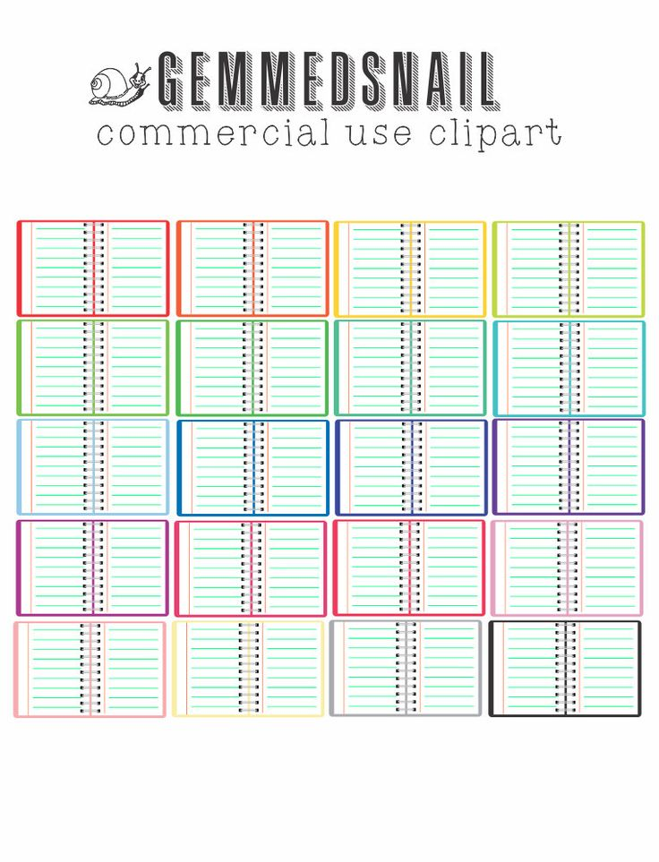 Planner clip art, planner clipart 20 open notebook images in rainbow colors, place on any background