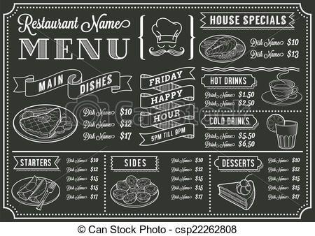 ベクター - 黒板, レストラン, メニュー, テンプレート - ストックイラスト, ロイヤリティーフリーイラスト, ストッククリップアートアイコン, ロゴ, ラインアート, EPS画像, 画像, グラフィック, ベクター画像, アートワーク, EPSベクターアート
