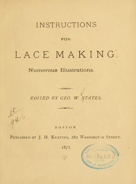 Instructions for lace making from 1873. In the public domain.