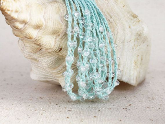 Mint blue linen necklace hand crocheted by 100crochetnecklaces, $22.00