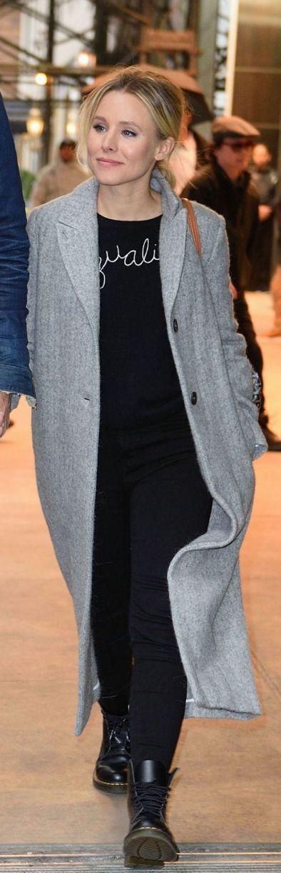 Kristen Bell in Purse – Goyard  Shoes – Dr Martins  Jeans – L'Agence