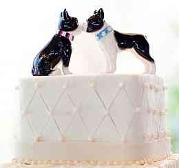 """Two adorable porcelain Boston Terriers make up this cute wedding cake topper figurine. <br /> <br /> *Please note these are salt and pepper shakers; they will small holes on their heads, and magnets in their """"mouths"""" They look very cute on the top of a cake!<span style=""""color: rgb(255, 0, 0);""""></span><br />"""