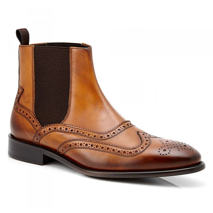 Men's Chelsea Boots #aquila #brogue #boots #italy #leather #leathersole #fashion #Bellamy #Tan