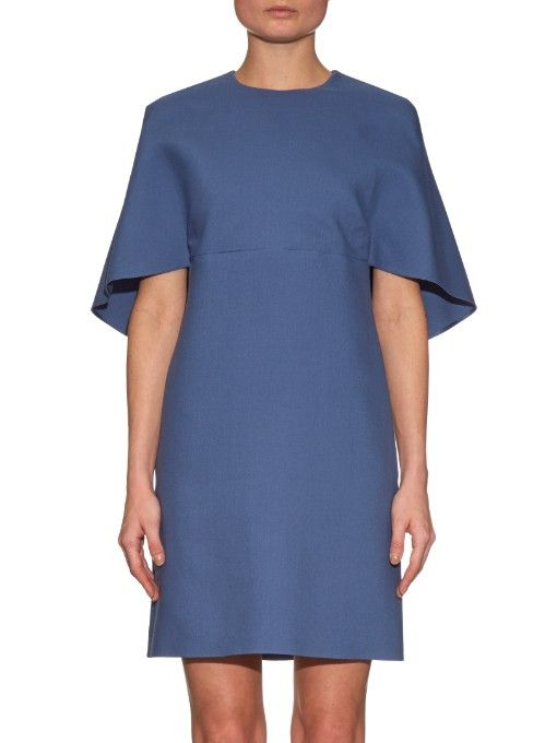 Valentino Open-back wool and silk-blend dress