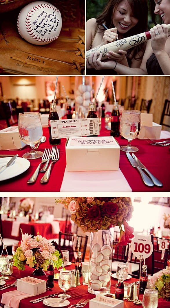 Baseball Theme Wedding- Seriously I think I love this idea!! The red for me and baseball for John!!