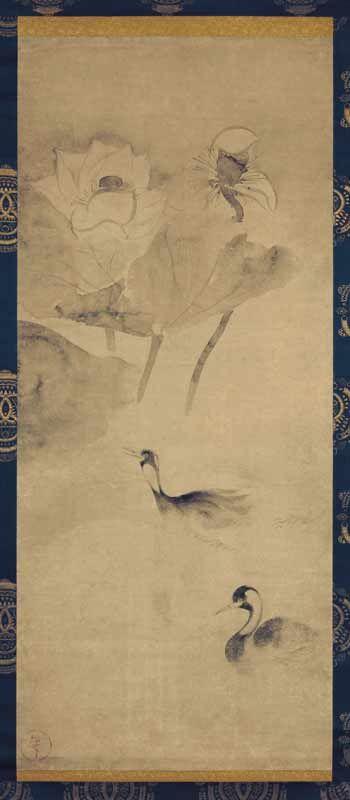 Таварая Сотацу, Tawaraya Sōtatsu, 俵屋 宗達 (? - 1643), Птицы в лотосовом пруду, 50.0 х 116 см, Национальный музей Киото