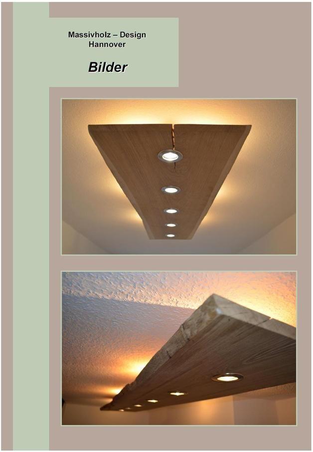 Perfect Massiv Holz Design Decken Lampe LED