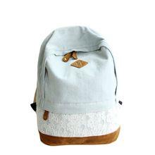Korean Lace Floral Print Denim Canvas Backpack Women Od školských tašiek pre dospievajúce dievčatá brašna Klasické tašky batoh Žena (Čína (pevninská časť))