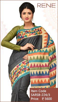 #ReneIndia #Grey #Hand #Print #Traditional #Ethnic #Kolkata #Westbengal #bengalee #Bengali #Handloom #Tussar #Silk #Saree available only on #Flipkart #Paytm #Snapdeal