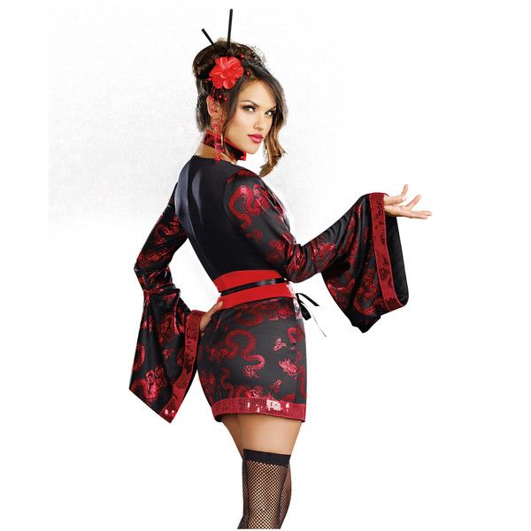 Geisha With Dragon Adult Womens Costume – Spirit Halloween (€54) ❤ liked on Polyvore featuring costumes, adult women costumes, womens halloween costumes, adult costume, dragon costume and sexy womens halloween costumes