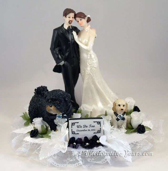 wedding cake topper with dog customized dogs with and groom wedding cake topper 8811