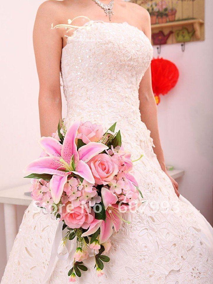 Hoge kwaliteit lelies & rose simulatie stof bruidsboeket, bruiloft huisdecoratie kunstzijde bloemen, Gratis verzending