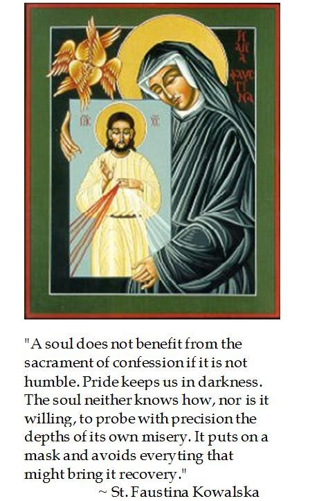St. Faustina Kowalska on humility and the sacrament of confession