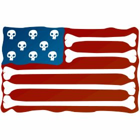 USA Fahne aus Knochen Skull - Die USA Fahne Stars and Stripes aus Knochen und Totensch�deln.