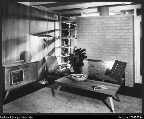Sievers, Wolfgang, 1913-2007. 'House of Tomorrow' exhibition at Exhibition Building, Melbourne, 1949 [living room] [picture]