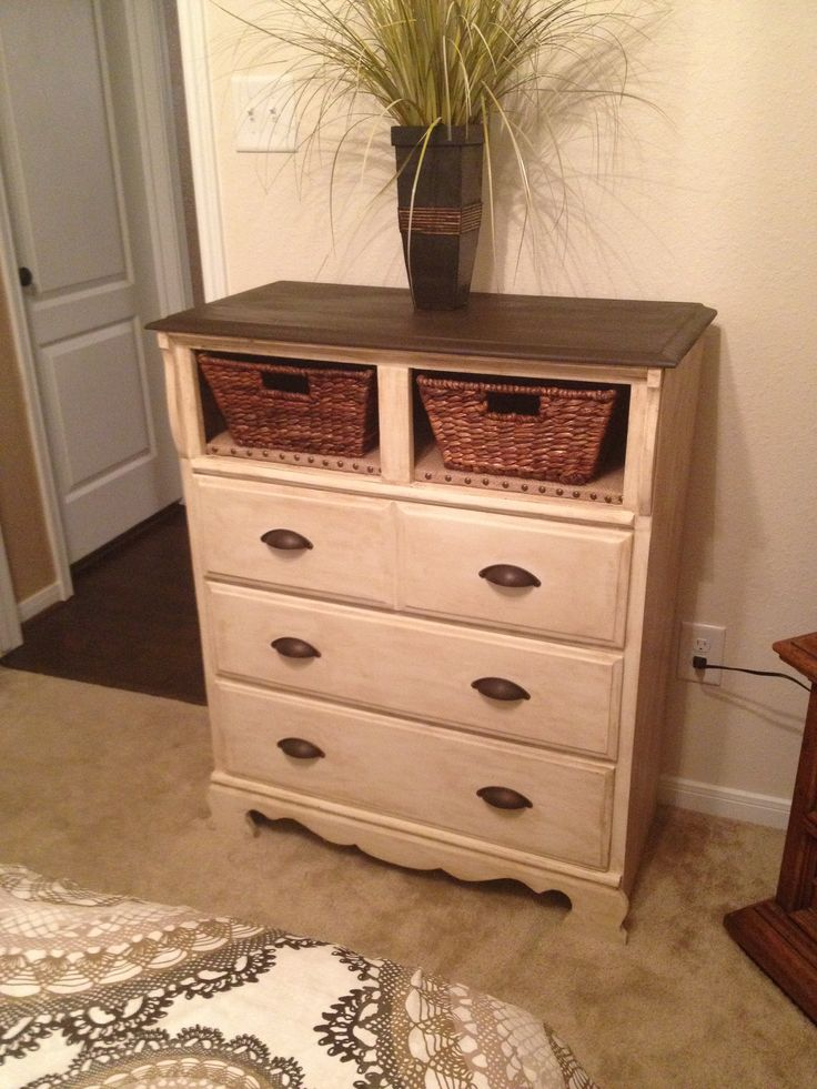 Dresser redo with burlap shelves and baskets!