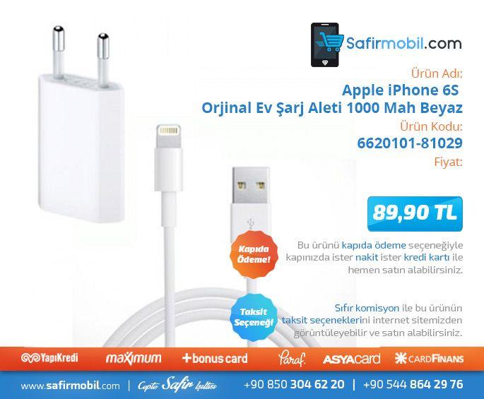 Ürüne Gitmek için Resme Tıklayınız,  #Apple #iphone #6s #orjinal #ev #şarjaleti #1000mah #beyaz #cepaksesuar #safirmobil